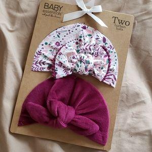 NWT 2 baby turbans knot newborn hats